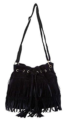 Faux Suede Tote Bag (Minetom Fashion Fransen Damentasche Lady Hot Fringe Tassel Faux Suede Shoulder Messenger Umhängetasche Handtasche Taschen Schultertasche ( Schwarz ))