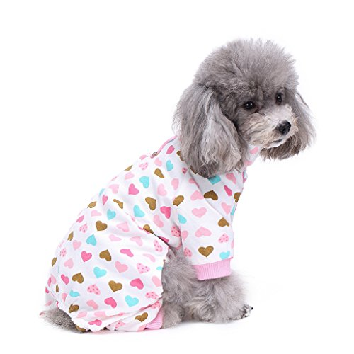 S-Lifeeling Dog Costumes Outfit Turtleneck Love Pattern Comfortable Puppy Pyjamas Soft Dog Jumpsuit Shirt Best Gift 100% Cotton Coat for Medium and Small Dog