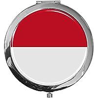 """metALUm - Extragroße Pillendose in runder Form""""Flagge Indonesien"""" preisvergleich bei billige-tabletten.eu"""