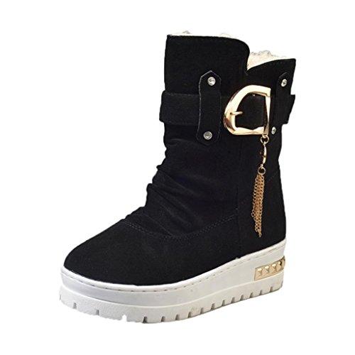 Koly Mujeres Casual Clásico Rebaño Borla Zapatos Nieve Tobillo Botas Invierno Guardar Calentar Boots Slip Botas Nieve Zapatos para mujer Botas Unisex Adulto Women Boots Shoes (36, Negro)
