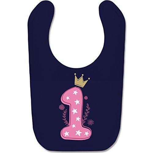 Shirtracer Geburtstag Baby - 1. Geburtstag Mädchen Krone Sterne - Unisize - Navy Blau - BZ12 - Baby Lätzchen Baumwolle
