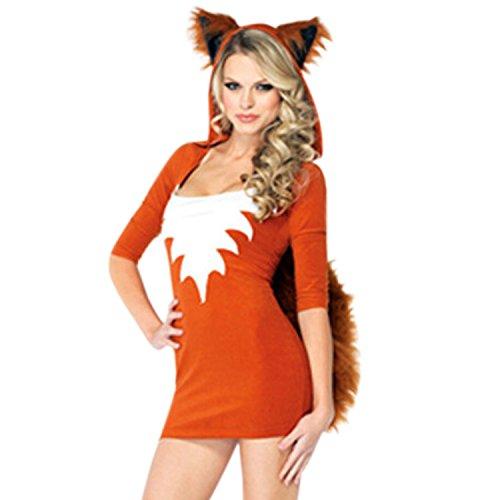 Petalum Damen Halloween Kostüm Fuchs Kostüm Jumpsuit Outfit Tierkostüm Erwachsene Bodycon Minikleid Partykleid