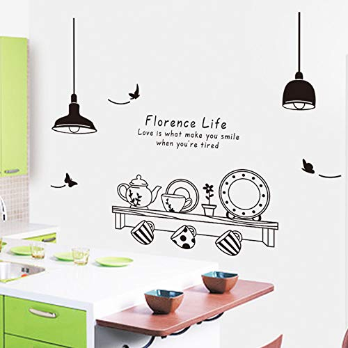 Restaurant Florence Life Removable Moderne Wandaufkleber Küche Tee Cup Cabinet Aufkleber Wanddekoration
