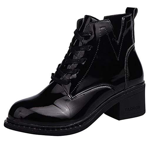 DAIFINEY Damen Winter Martin Stiefel Britischer Stil PU Stiefel Kurz Stiefeletten Winter Worker Boots Schlupfstiefel(Schwarz/Black,34.5) Womens Plaza Mid Boot