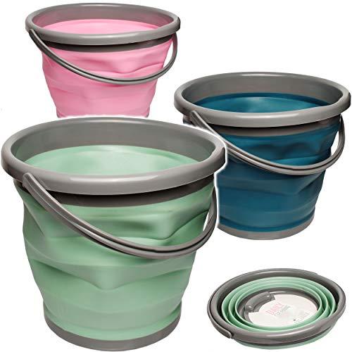 Circa Bad (3 Stück _ 10 / 12 Liter Eimer - bunter Farb-Mix - faltbar & klappbar - Silikon & Kunststoff / Klappeimer - Wassereimer & Putzeimer - Badezimmer / Küche / Bad ..)