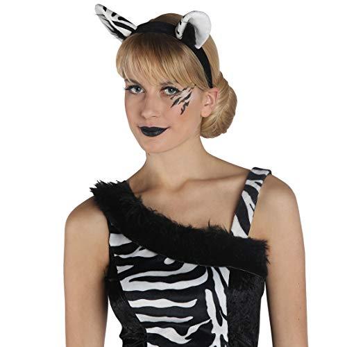 Pferd Kostüm Schwanz Und Ohren - NET TOYS Zebra-Ohren-Haarreif für Frauen | Weiß-Schwarz | Tierisches Damen-Kostüm-Zubehör Kopfschmuck Wildpferd | Genau richtig für Mottoparty & Kostümfest
