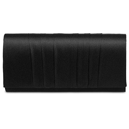 CASPAR TA390 elegante Damen Satin Clutsch Tasche Abendtasche mit vertikalen Falten, Farbe:schwarz;Größe:One Size