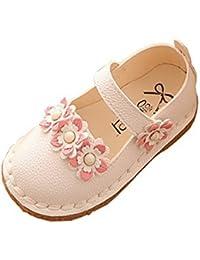 d087335f9f994 Ahatech Ballerines Fille Princesse Chaussures Enfant Bebe Velcro Plates  Ceremonie Mariage à Fleurs