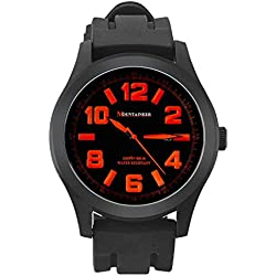 Mountaineer Mens Sport Watch Black Silicone Rubber Band Big Face Orange Numerals Date Reloj Hombre MN8041