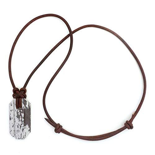 Wazoo Wikinger Wetzstein-Anhänger/Messerschärfer-Halskette/Arkansas Novaculite auf Lederband/Knotenmuster im Norden