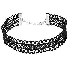 Nikgic 28 * 2 cm negro Mode elegante punta Choker Fácil Halskette Mujer Regalo ...