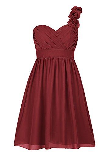 Dresstells, Épaule asymétrique robe courte de demoiselle d'honneur avec fleur, col en cœur Bordeaux