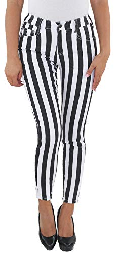 Sotala Damen Stretch High Waist Röhren Jeans Hose Slim Fit Skinny gestreift A S (36) -