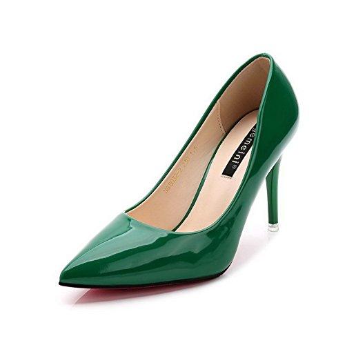 AalarDom Femme Matière Souple à Talon Haut Pointu Tire Chaussures Légeres Vert-Verni