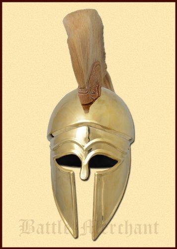 Battle-Merchant Italo Korintherhelm mit Helmbusch, Messing - Helm - Antike - Griechen