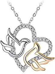 Swarovski Elements 925 Sterling Silver Heart Dove Pendant Necklace for Women and Ladies Gift J.Rosée Jewelry J