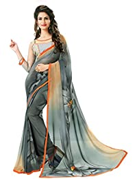 Macube Women's Georgette Saree With Blouse Piece (Ms17, Multicolor, Free Size)