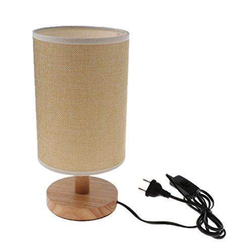 Baoblaze Tischlampe mit Holzfuß und Stoffschirm Nachttischlampe Tischleuchte für Wohnzimmer, Schlafzimmer, Kinderzimmer, Büro, Café(Keine Glühbirne) - Farbe 2