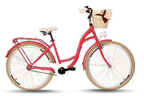 Goetze Colours 28 Zoll Damen Citybike Stadtrad Damenfahrrad Damenrad Hollandrad Retro-Design Korb Hinterradbremse LED-Beleuchtung Himbeerrot-Beige