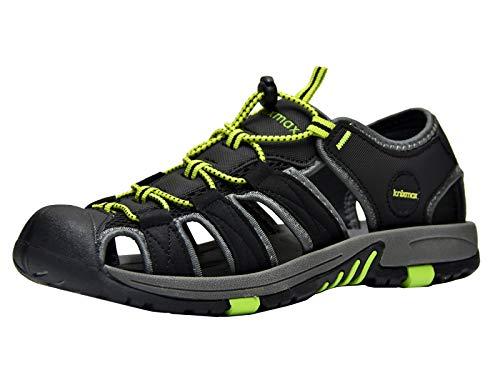 Knixmax Sandal Trekking Wandersandalen Damen Herren rutschfeste Comfort Wanderschuhe Sommer Männer Women Walking Schuhe Sport-& Outdoor Sandalen EU43-(UK 9) Black Sport Sandalen