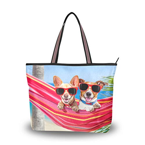 Emoya Fashion Tote Bag Hunde mit Sonnenbrille Hängematte Sommer Strand Tropische Palme Top Griff Casual Tote Shoulder Work Casual Bag L, Mehrfarbig - multi - Größe: Medium