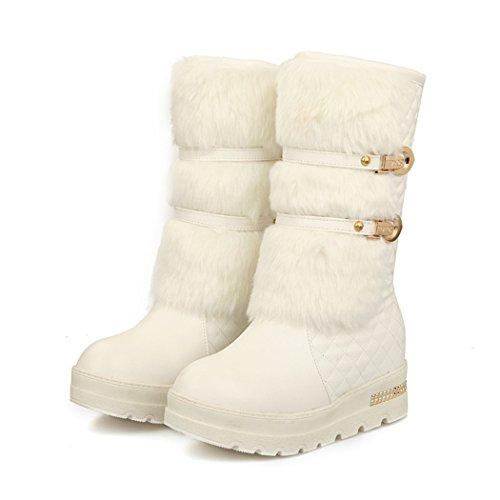 ZQ@QXGrandi dimensioni scarpe donna maniche, Snow Boots, fibbie, medio Stivali Stivali bambino white