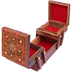 VISHAL INDIA MART HANDCRAFT WOODEN JEWELLERY BOX, BEST JEWELLERY ORGANIZER, IMPORTED JEWELLERY HOLDER, JEWELLERY STORAGE BOX - GIFT ITEM