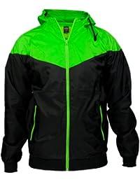 Chaqueta para hombre Arrow Windrunner Urban Classics, Hombre, color Black/Limegreen, tamaño XL