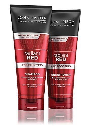 JOHN FRIEDA Radiant Rouge NEUF rouge Stimulation Shampooing + après-shampooing 250ml chaque