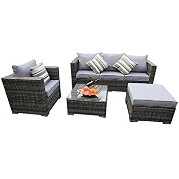 YAKOE Rattan 5-Seater Garden Furniture Corner Sofa Table Chairs Set with Fitting Furniture Cover - Grey Weave