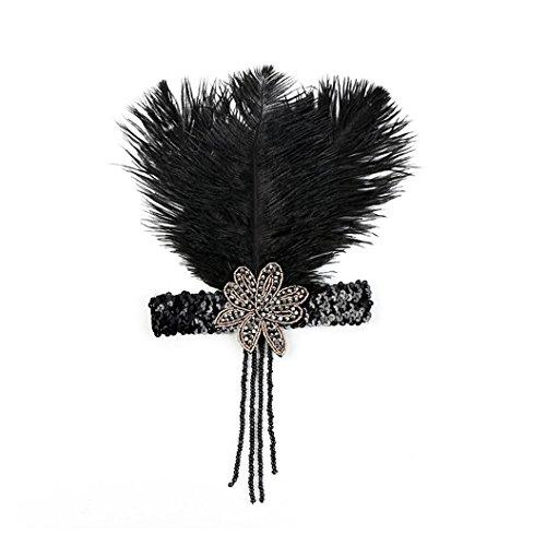 dressfan Vintage Flapper Stirnband Damen Pfauenfeder Damen Stirnband indischen Stirnband Feder Cocktail Party Schwarz Feder Cocktail