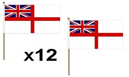 12Stück (22,9x 15,2cm) weiß Ensign Navy Naval Hand Waving Flaggen aus Holz 30cm Pole ideal für Party Konferenzen Büro Display
