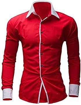YCHENG Lujo Camisa para Hombre Manga Larga Moda Corlor Contrastes de Vestido Formal Casual