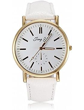 Weiss Luxus Golden Armbanduhr Lederarmband Uhren Damenuhr Quarz Uhr Sport Trend