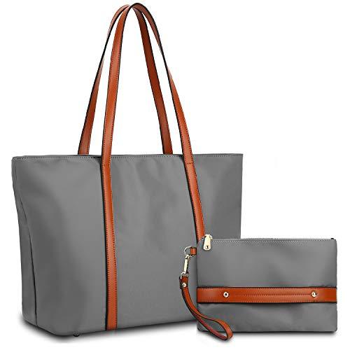 YALUXE Shopper Tasche Damen Oxford Echtleder Nylon Umhängetasche mit großer Kapazität Braun und Grau -