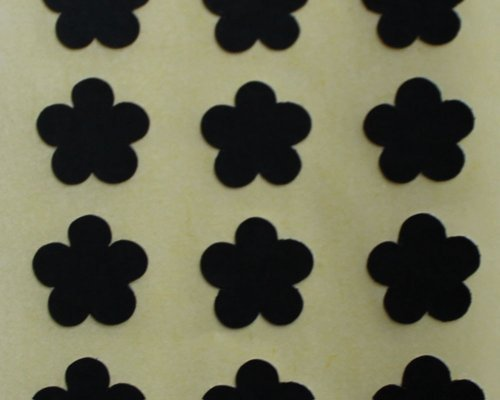 150 Etiquetas, 10mm Forma De Flor, Negro, Pegatinas Autoadhesivas, Minilabel Formas