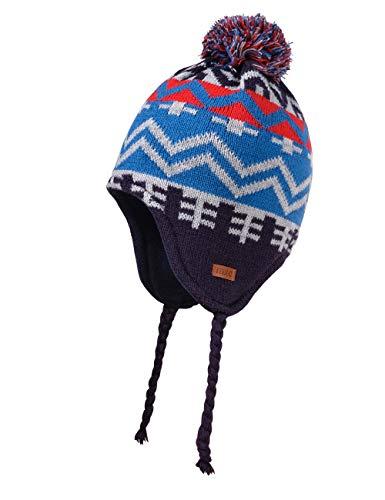 maximo Jungen Inkaform mit Pompon Mütze, Mehrfarbig (Navy/Multicolor 4899), (Herstellergröße: 55)