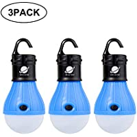 Biange LED Camping Lantern Portable Tent Light Bulb Battery Operated Camping Equipment for Backpacking Hiking Hurricane Emergency Power Outage and Outdoor Adventures (3 pack)