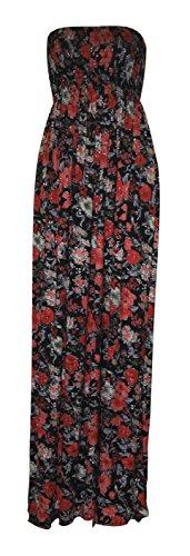 Fast Fashion - Maxi Robe Plus Taille Tie Dye Rayure De Léopard Floral Imprimé - Femme noir/ rouge
