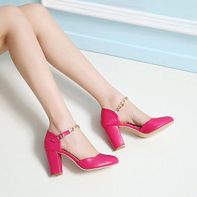 LvYuan Damen-Sandalen-Büro Kleid Party & Festivität-PU-Blockabsatz-Club-Schuhe-Blau Rosa Weiß Pfirsich Blue