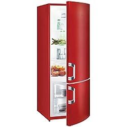 Gorenje RK61620C Réfrigérateur-congélateur Efficacité énergétique A++ Partie réfrigérateur:232L Partie congélateur:53L Éclairage intérieur 4rayonnages en verre Rouge vif
