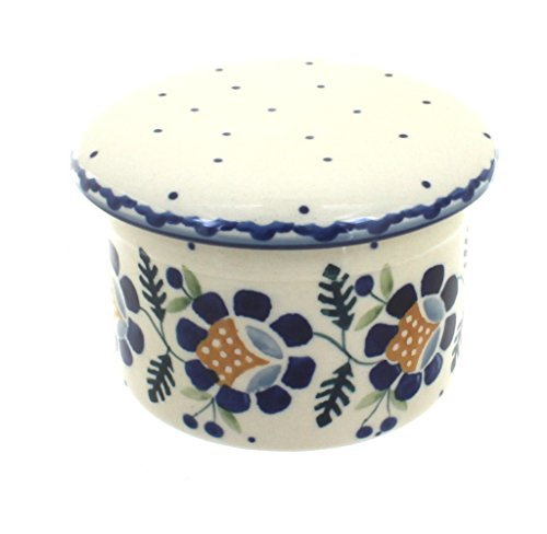 polish-pottery-sunflower-french-butter-dish-by-blue-rose-pottery