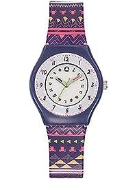 Lulu Castagnette - 38800 - Montre Fille - Quartz Analogique - Cadran Blanc - Bracelet Plastique Multicolore