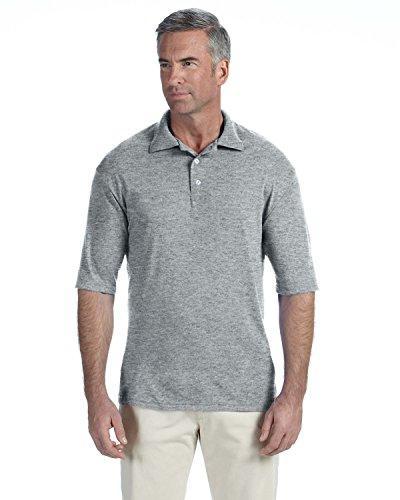 Jerzees Short Sleeve Polyester Polo Shirts For Men Pique Collar Sport Golf Tennis Moisture Wicking, Grey, Small (Golf-polo-shirt Jerzees)