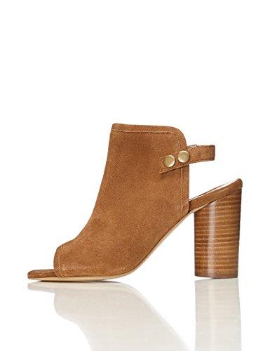 Leder Slingback Heels Schuhe (FIND Damen Halb Geschlossene Mules mit Blockabsatz, Braun (Tan), 39 EU)
