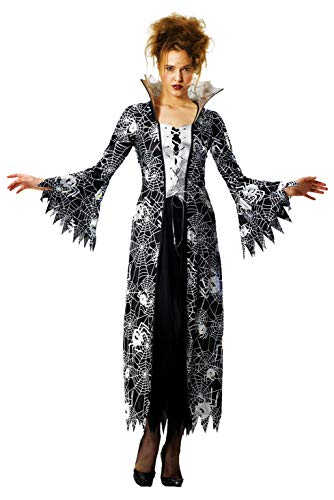 Foxxeo schwarz Silber Spinnen Hexen Vampir Kostüm für Damen Fasching Karneval Halloween Größe XXXL
