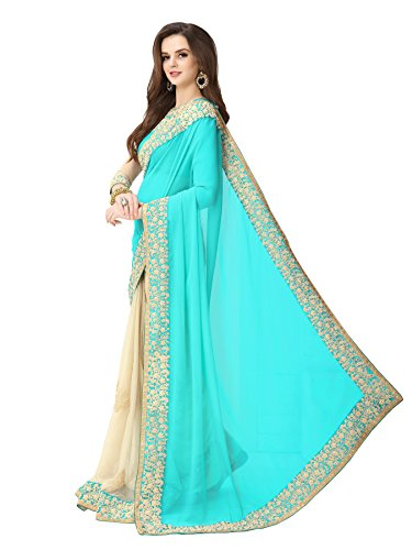 Glory Sarees Women's Georgette Saree (Sukanya blue saree_blue & beige)