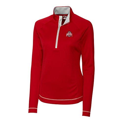 Cutter & Buck Damen CB Drytec Long Sleeve Evolve Half Zip, Damen, NCAA Women's Long Sleeve Evolve Half Zip Jacket, Kardinalrot, S - Cutter & Buck Mesh Pullover