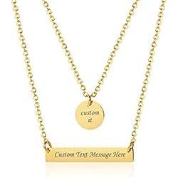 Vnox Personalizado Chapado en Oro de Acero Inoxidable Moneda Redonda y Barra Horizontal Colgante Gargantilla de Capas Collar en Y para Mujeres Niña, Grabado Libre