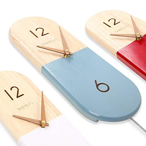 Susidun sussington orologio da parete moderno e decorativo a pendolo - a batteria, silenzioso, non ticchettio, grande elegante orologio da parete in legno per soggiorno, das blau